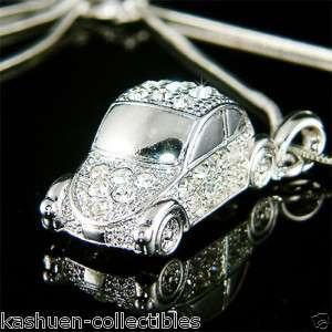 3D VW Beetle~ VOLKSWAGEN Classic CAR w Swarovski Crystal Charm