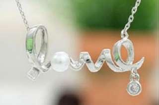 Fashion Silver Alloy Twist Love & Pearl Stud Valentines Necklace