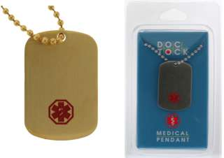 New Medical Alert Stainless Steel or Gold Plated Dog Tags Pendant