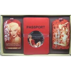 Monroe Red Love Travel Set Tags & Passport Cover