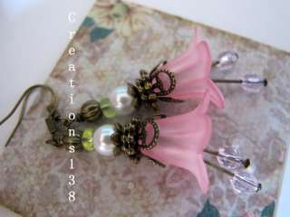 Pink Lucite Flower Glass Crystal Earrings Valentines Day Gifts
