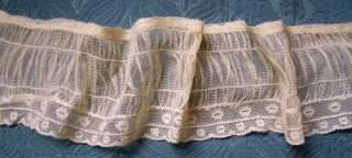 ANTIQUE FRENCH LACE TULLE RUFFLED PLEATED TRIM DOLL SASH MILLINERY