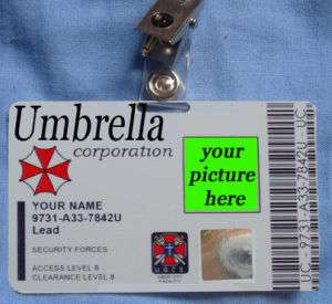 Resident Evil Umbrella Corporation Costume UBCS Card ID