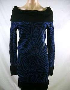 DKNY Carbon Blue/Black Jaquard Animal Print Sweater Dress X Small NWT