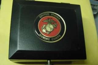 USMC MARINE CORPS BLACK WOOD JEWELRY 16 RING BOX NEW