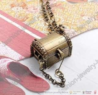 Fashion Antique Bronze Treasure Chest Necklace Retro Style HOT