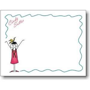 Pen At Hand Stick Figure Personalized Stationery   Retro