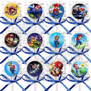 Super Mario Bros. Video Game Lollipops Suckers w/ Dark Blue Bows
