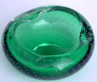 Erickson Ashtray Emerald Green Glass Controlled Bubbles Medium