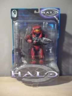 SERIES 2 RED MASTER CHIEF FIGURE WITH ASSAULT RIFLE SHOTGUN NEW 2003