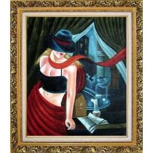 Girl by the Window Pop Art Oil Painting, with Ornate Antique Dark Gold