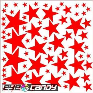 34 Fire Red Stars Wall Stickers Decals Words Mural Bedding
