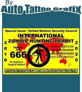 ZOMBIE HUNTING PERMIT Decal Sticker Jeep Truck Funny Novelty Gift