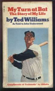 MY TURN AT BAT THE STORY OF MY LIFE TED WILLIAMS BOOK