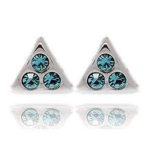 925 Sterling Silver Triangle Blue Crystal Stud Earrings