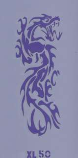 XL 50 Tribal Dragon Temporary Tattoo or T Shirt Stencil