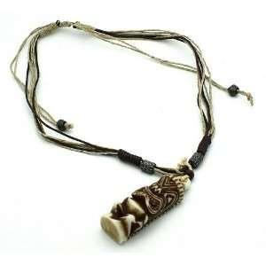 Tiki Necklace Yak Bone Ethnic Carved Pendant Tribe
