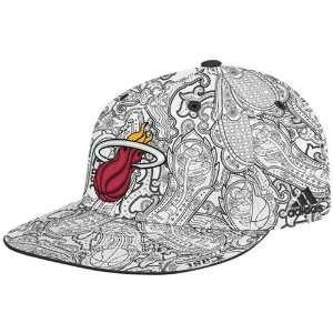 adidas Miami Heat White Black Paisley Flat Brim Fitted Hat