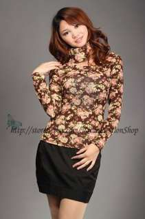 Korea Womens Vintage Floral Print Long Sleeve Cotton Beaded Tops
