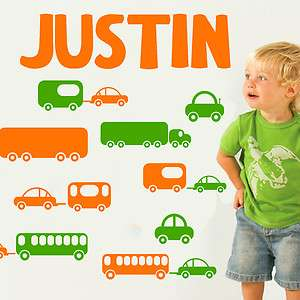CARS & TRAILERS * Boys Name Vinyl Wall Decal Sticker Art Decor Kids