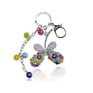 Beaded Enamel Butterfly Swarovski Crystal Rhinestone Keychain Jewelry