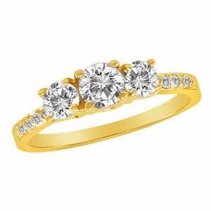 14K Yellow Gold 3 Three Stone Round Brilliant Diamond Ring