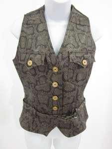 MOSCHINO Brown Snake Skin Print Button Down Vest Sz 8