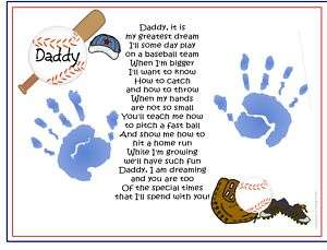 Me~BASEBALL Poem Print Baby /Child Handprints Unique Christmas Gift