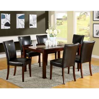 Modern 7 Piece Faux Marble Top Dining Table Set
