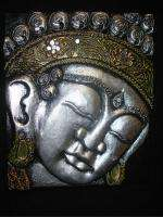 Buddha Carved Wood Balinese Art wall panel Silver