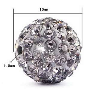 5pcs 10MM Clay Disco Rhinestone Crystal Ball Beads Hip Hop Charms