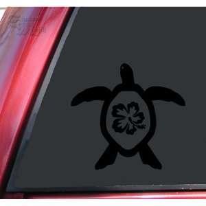 Hibiscus Honu Hawaiian Sea Turtle Black Vinyl Decal