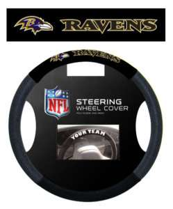 BALTIMORE RAVENS MESH SUEDE CAR STEERING WHEEL COVER