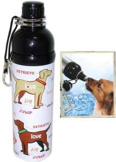 Pet Water Bottle   Puppy Love Pattern (24 oz B&W)