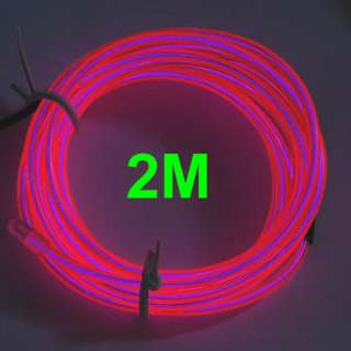 Light Glow EL Wire Rope Tube Car Party Bar 1M+Driver Hot Pink