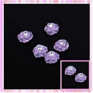 Purple Glitter Rose Get With Rhinestones Design Nail Art