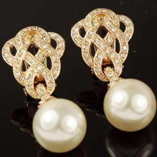 Swarovski Crystal Pearl Gold GP Dangle Ball earring 132