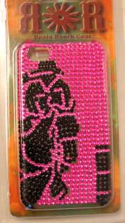 IPHONE 4G WESTERN BUCKING HORSE BARREL RACER COVER CASE PURPLE PINK