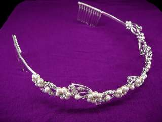 Wedding Faux Pearl Crystal Bridal Flower Girl Tiara Headband
