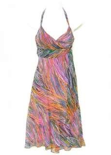 BCBG MaxAzria SILK Chiffon HALTER Dress 2 Colorful ASYMMETRICAL Side