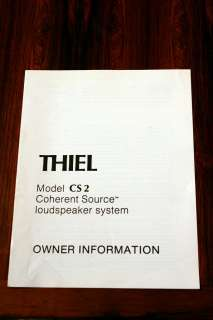 Thiel CS2 CS 2 Speaker Owners Manual *Original*