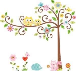 Giant Tree Wall Decal Sticker Nursery Decor Owl Flowers