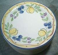 Belagio Pottery Yellow Blue Lemons Fruit Salad Plates