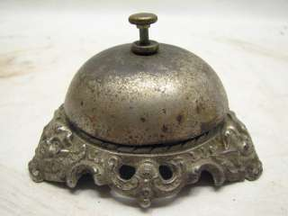 ANTIQUE IRON COUNTER BELL DECORATIVE CHERUBS ANGELS HOTEL CALL DESK