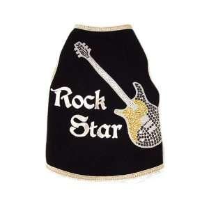 See Spots Dog Pet Cotton T Shirt Tank, Rock Star Guitar, Large, Black