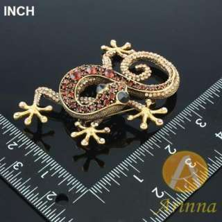 ARINNA cool cabrite lizard Swarovski Crystal Brooch Pin
