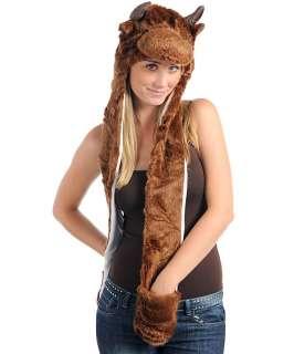 Warm Fashion Animal Faux Fur Hoodie Hat Beanie Scarf Long Paw Gloves