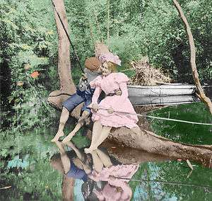 Romantic Victorian fishing kiss 1899 larg photo picture