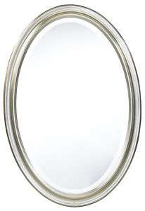 Modern Chic Oval Antiqued Silver Frame Beveled Mirror
