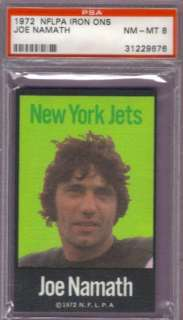 1972 NFLPA IRON ONS New York Jets JOE NAMATH PSA 8 HOF